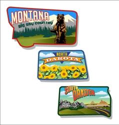 retro montana and dakotas vector image