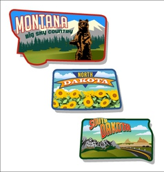 retro of Montana and Dakotas vector image