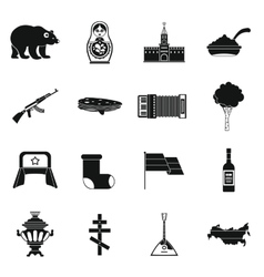 Russia icons set simple style vector