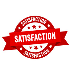 satisfaction ribbon satisfaction round red sign vector image