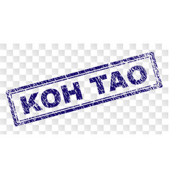 Scratched koh tao rectangle stamp vector