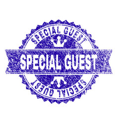 Scratched textured special guest stamp seal with vector