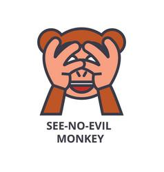 See no evil emoji line icon sign vector