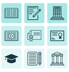 set of 9 education icons includes diploma vector image