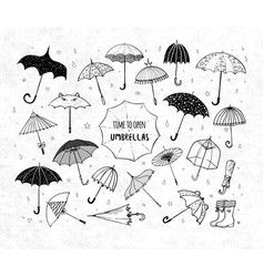 set of doodle sketch umbrellas on rice paper vector image