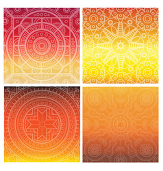 Set of indian mandala on orange gradient vector