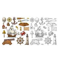 set pirate adventure color vintage vector image