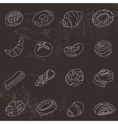 Set with different pastry vector