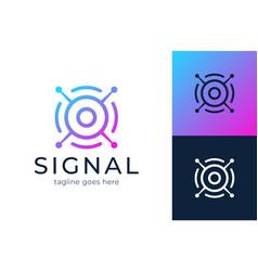 signal logo modern satellite eye communication vector image