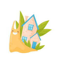 Smiling snail with cute cozy house on its back vector