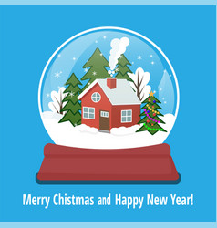 Snow globe with gingerbread house and snowflakes vector