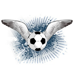 soccer ball with two wings vector image
