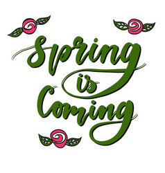 Spring is coming hand lettered logotype typography vector