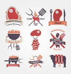 Steak vintage label design vector image