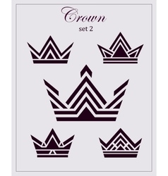 Stylized drawings crowns a set icons on vector