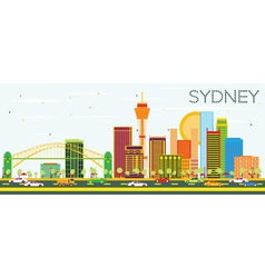 Sydney Skyline with Color Buildings vector
