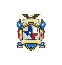 texas state map flag coat arms retro vector image