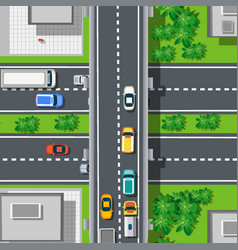 Top view from above on highway freeway vector