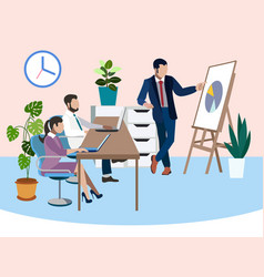 Training future employees office work report in vector