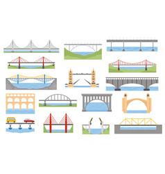 Types bridges set color graphic design vector
