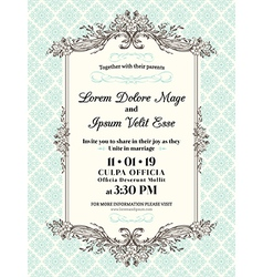 Vintage wedding invitation border and frame vector image stopboris Images
