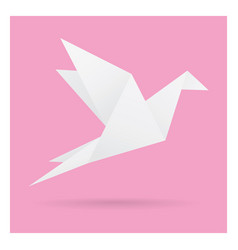White bird paper craft flying in frame art vector