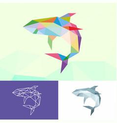 White shark sea animals low poly logo icon symbol vector