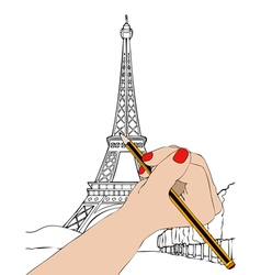Woman draws a boulevard with the Eiffel Tower in vector