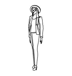woman glasses hat pants casual outline vector image