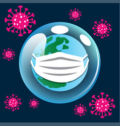 World with surgical mask face protection vector