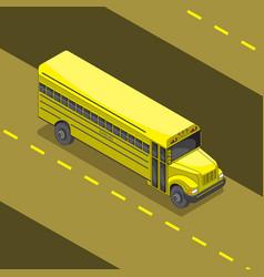 yellow school bus cartoon 3 d angle image vector image