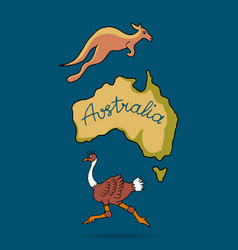 australia continent in doodle style vector image vector image