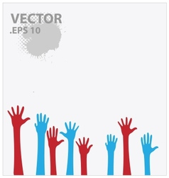 blue and red hands vector image