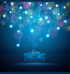 bright christmas lights on a dark vector image vector image