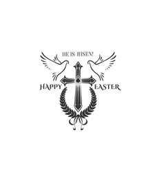 easter cross crucifix and flying doves vector image vector image