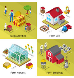 farm concept 4 isometric icons square vector image
