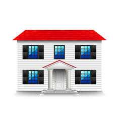 house with large black windows isolated on white vector image vector image