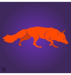 Red running fox silhouette vector image vector image