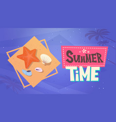Summer time vacation sea travel retro banner vector