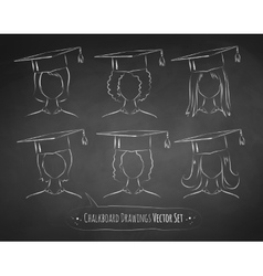 Chalkboard drawings of students vector image