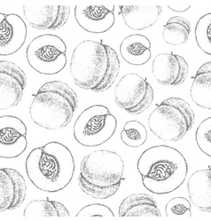 Seamless peach pattern Fresh fruit sketch vector image vector image