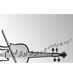 violin and musical notes vector image vector image