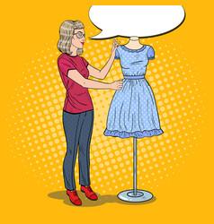 pop art female fashion designer with dress vector image