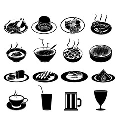 Restaurant foods icons set vector image