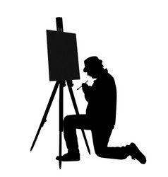 artist at work silhouette vector image