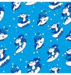 Blue surfing monkeys seamless pattern vector