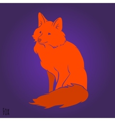 Red sitting fox silhouette vector image