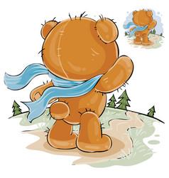A brown teddy bear sad vector