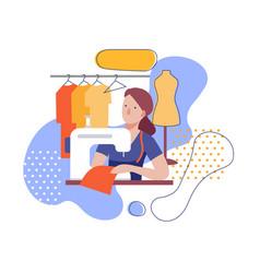A woman dressmaker at a sewing machine flat vector