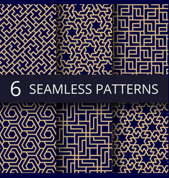 Arabic culture seamless patterns gold vector